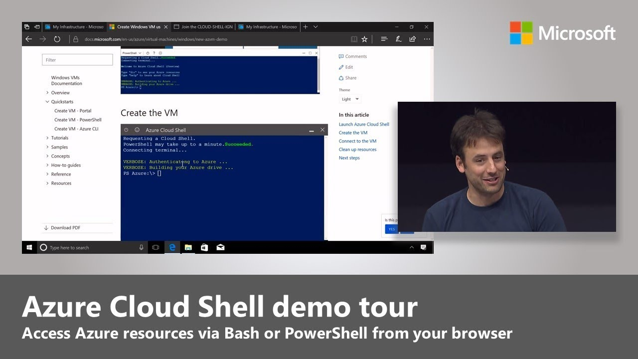 Azure Cloud Shell: Access Azure resources in via Bash or PowerShell via the browser