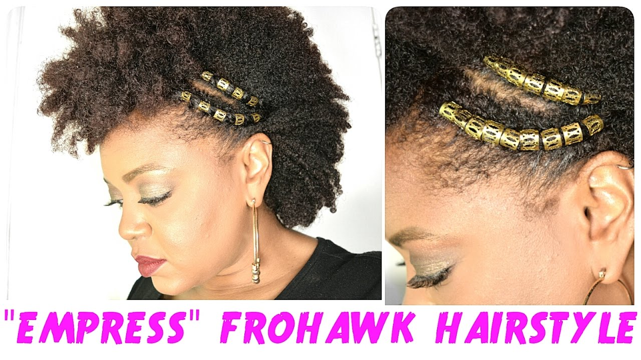 """""""empress"""" frohawk festival / holiday / party natural hairstyles with hair jewels 