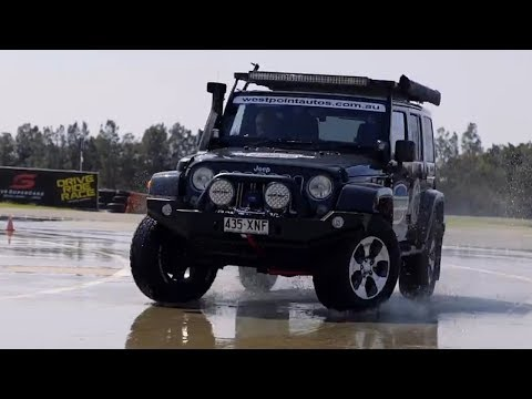 Jeep Wrangler on The Skid Pan - Roothy Drifting - Roothy Roothless Tales