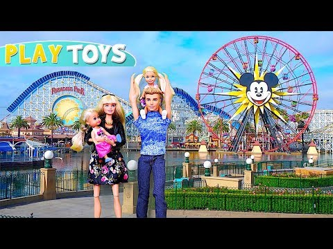 Barbie Girl, Ken & Baby Dolls trip to Disneyland! Play Barbie family morning routine for Playground!