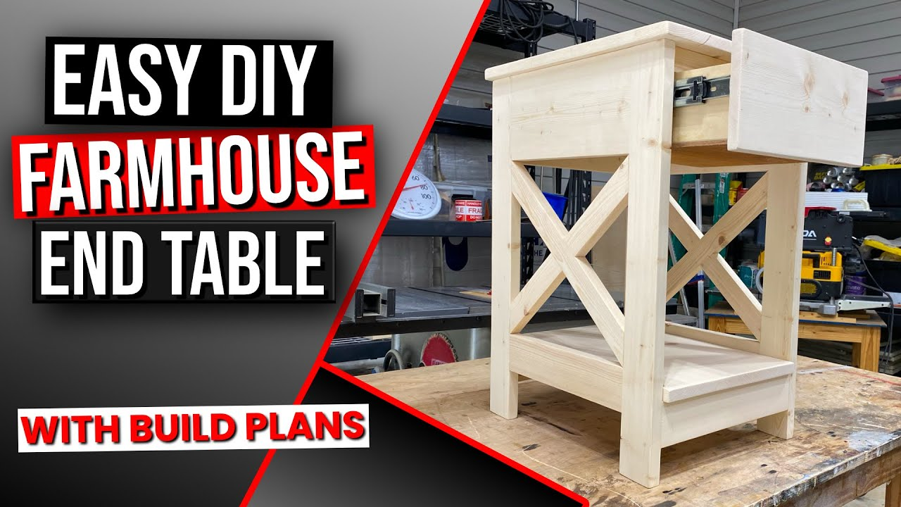 Farmhouse End Table Diy With Build Plans You - End Table With Drawer And Shelf Plans