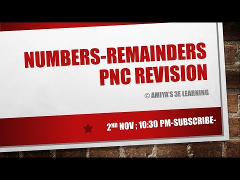 CAT 2017 : NUMBERS-REMAINDERS PnC REVISION