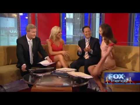Sexy Miranda Kerr Victoria Secret Model Does Yoga Pose in Short Dress on Fox and Friends