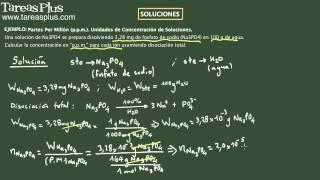 Soluciones concentración partes por millón (p.p.m.). Ejemplo 2