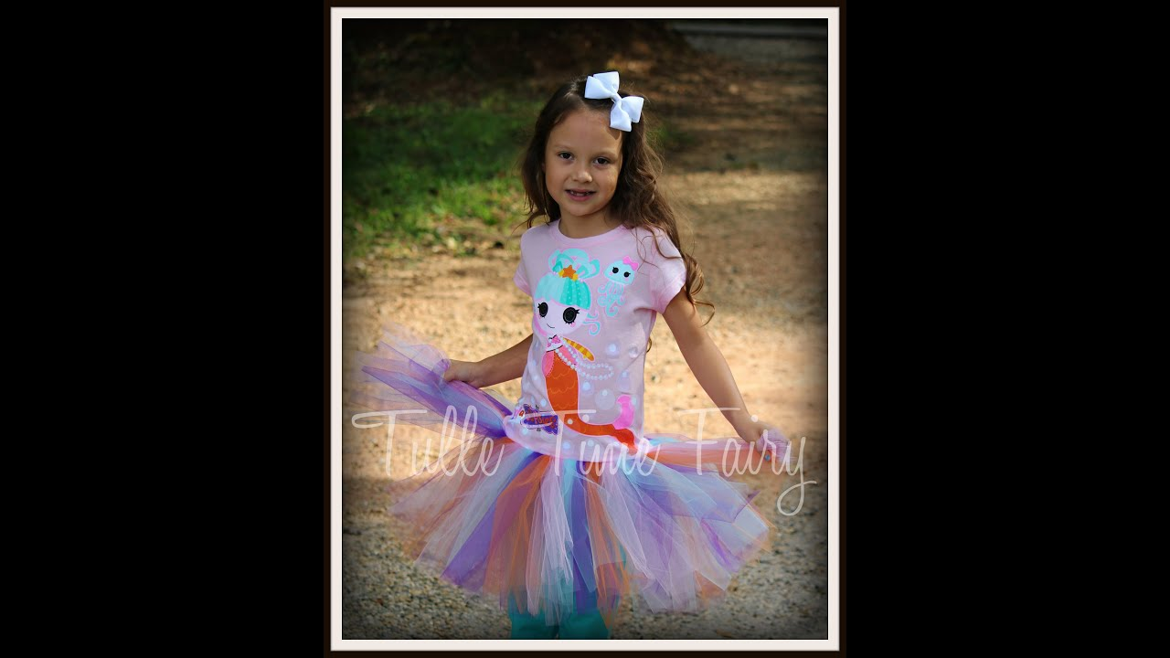 1bd70f3326 How to sew tulle to a t-shirt - tutu dress from a shirt - YouTube