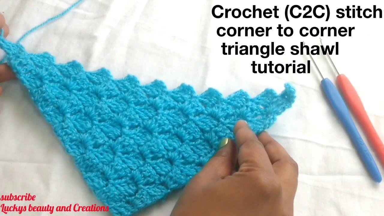 Crochet C2C corner to corner stitch triangle shawl tutorial in Hindi ,  Crochet triangle shawl making