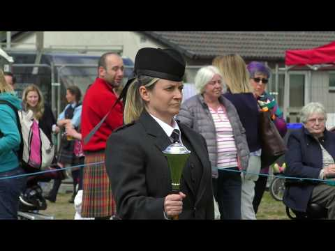 Banchory 2017 - Drum Major competition with inspection and Mace flourish (throw) on the march