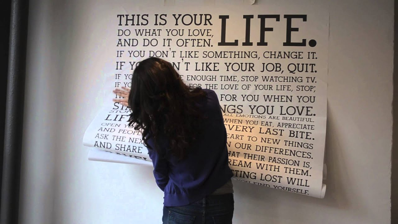 How To Apply The Holstee Manifesto Decal YouTube - Vinyl wall decal application youtube