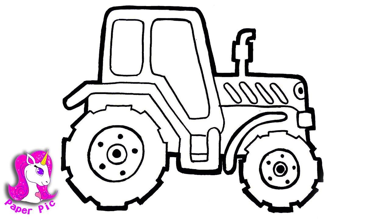 Как нарисовать синий трактор с прицепом | Paper Pic - YouTube