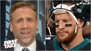 Max Kellerman rips Carson Wentz for 'pouting' about being replaced by Jalen Hurts | First Take