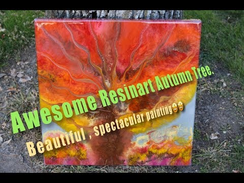 RESIN ART AUTUMN TREE.  VERY COLORFUL.  PROMARINE EPOXY AND EPOXYCANDY PRODCUTS AND GOLDEN PAINTS