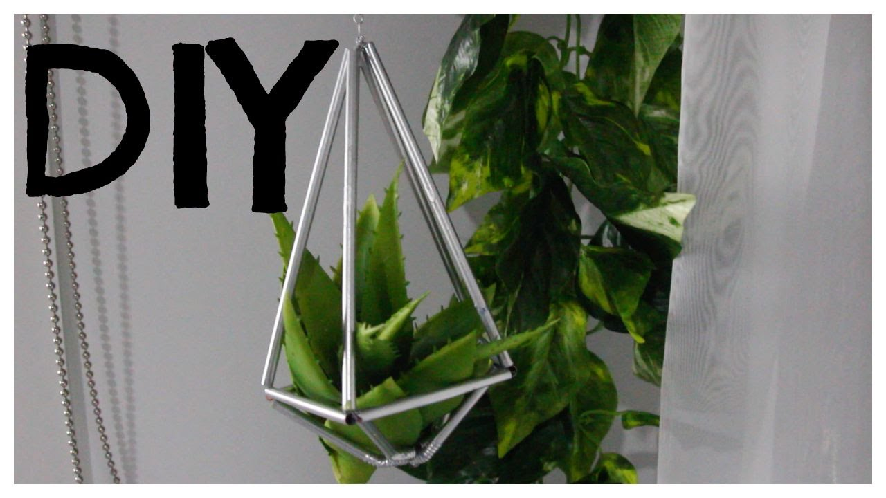 Diy Geometric Plant Hanger Using Straws Youtube