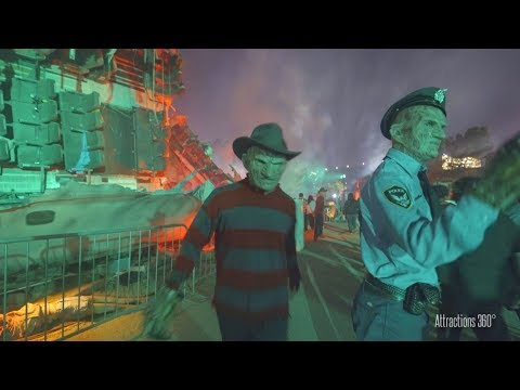 [4K]  Chucky, Freddy, Jason, & LeatherFace on Studio Tram - Universal Halloween Horror Nights