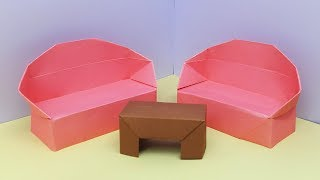 How to make a Paper Sofa (Double) - Origami for Beginners