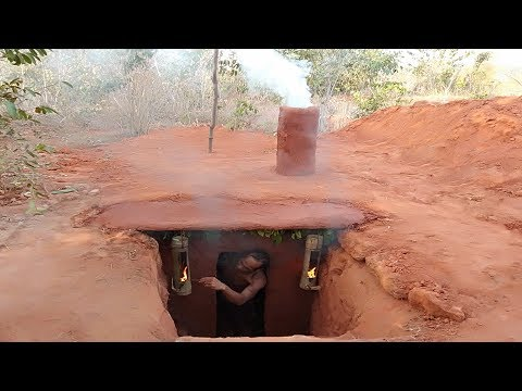 Building secret underground swimming pool's house by digging cliff
