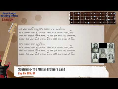 Soulshine - The Allman Brothers Band Bass Backing Track with chords and lyrics