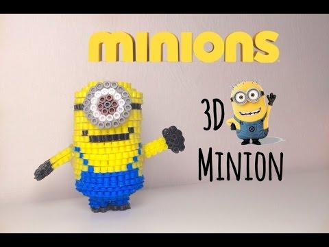 3D HAMA BEADS MINIONS movie  3d pyssla