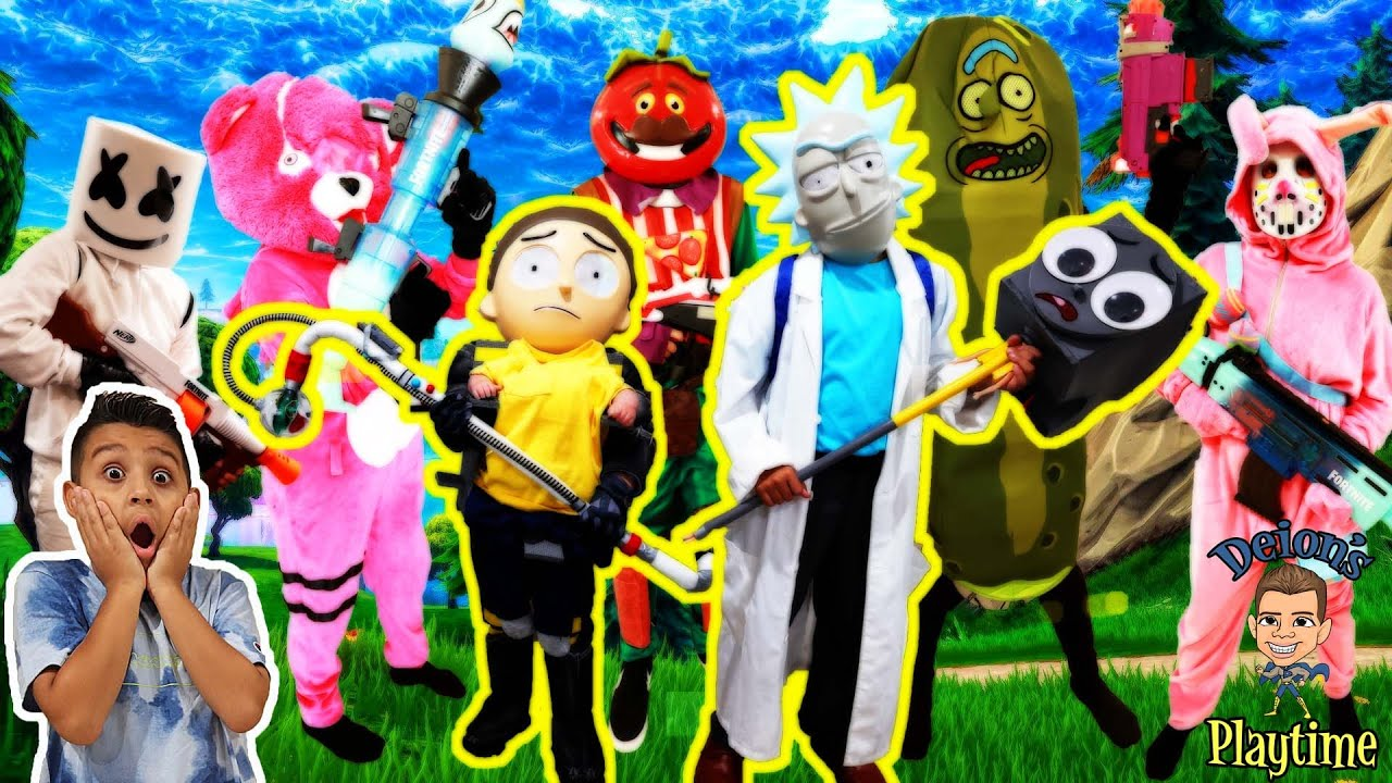 FORTNITE IN REAL LIFE as RICK AND MORTY   DEION'S PLAYTIME