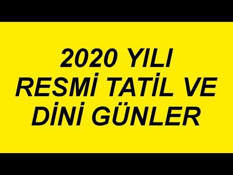 2020 YILI RESMİ TATİL VE DİNİ GÜNLER