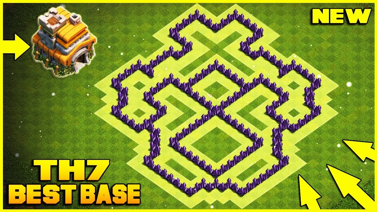 New Best Th7 Hybrid Trophy Defense Base 2019 Town Hall 7 Hybrid Base Design Clash Of Clans Youtube
