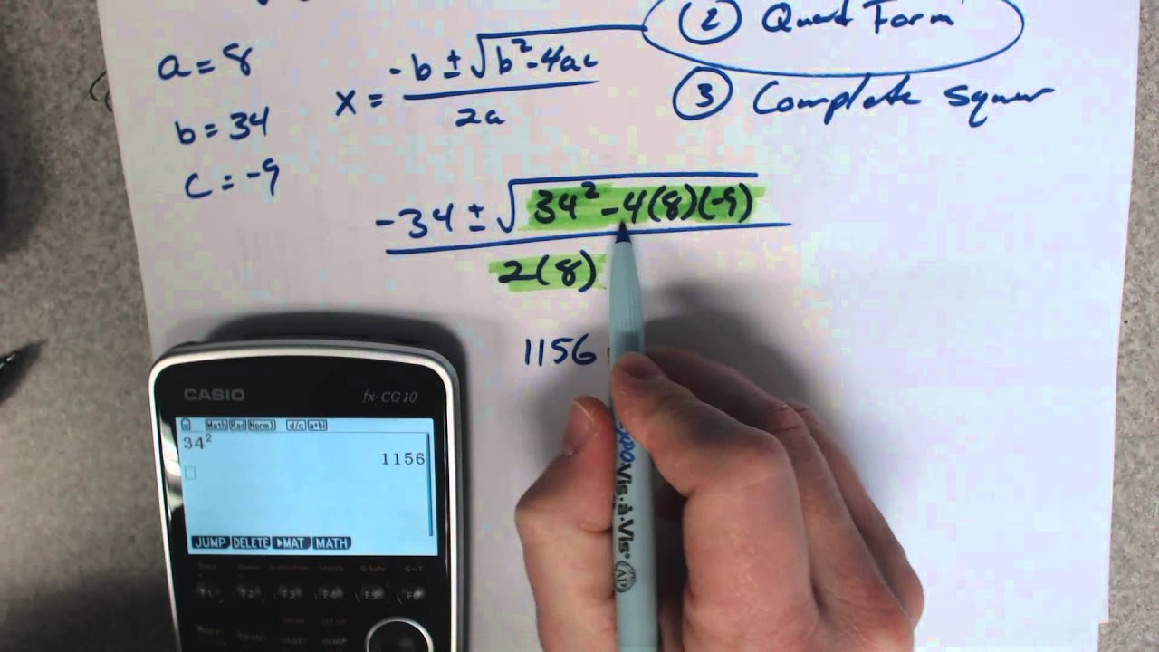 Use the quadratic formula and how to put it in the calculator use the quadratic formula and how to put it in the calculator falaconquin