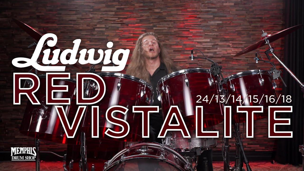 Used Ludwig Vistalite Drum Set 24/13/14/15/16/18 - Red Acrylic