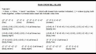 Rain Crow Bill Blues Harmonica Tab