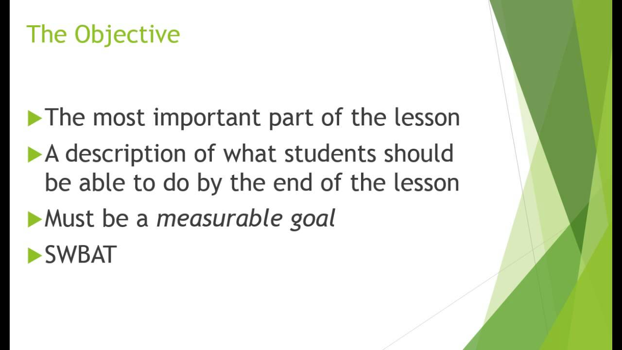 how to write a lesson plan objective