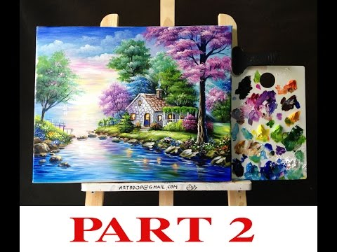 Beautiful Painting Of House On The Lake  PART 2