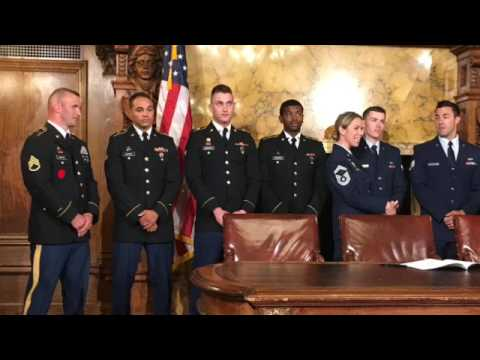 Gov. Tom Wolf discusses the Stolen Valor Act