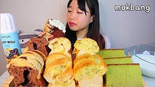 MUKBANG 초코 고구마크림치즈 마늘 식빵 카스테라를…