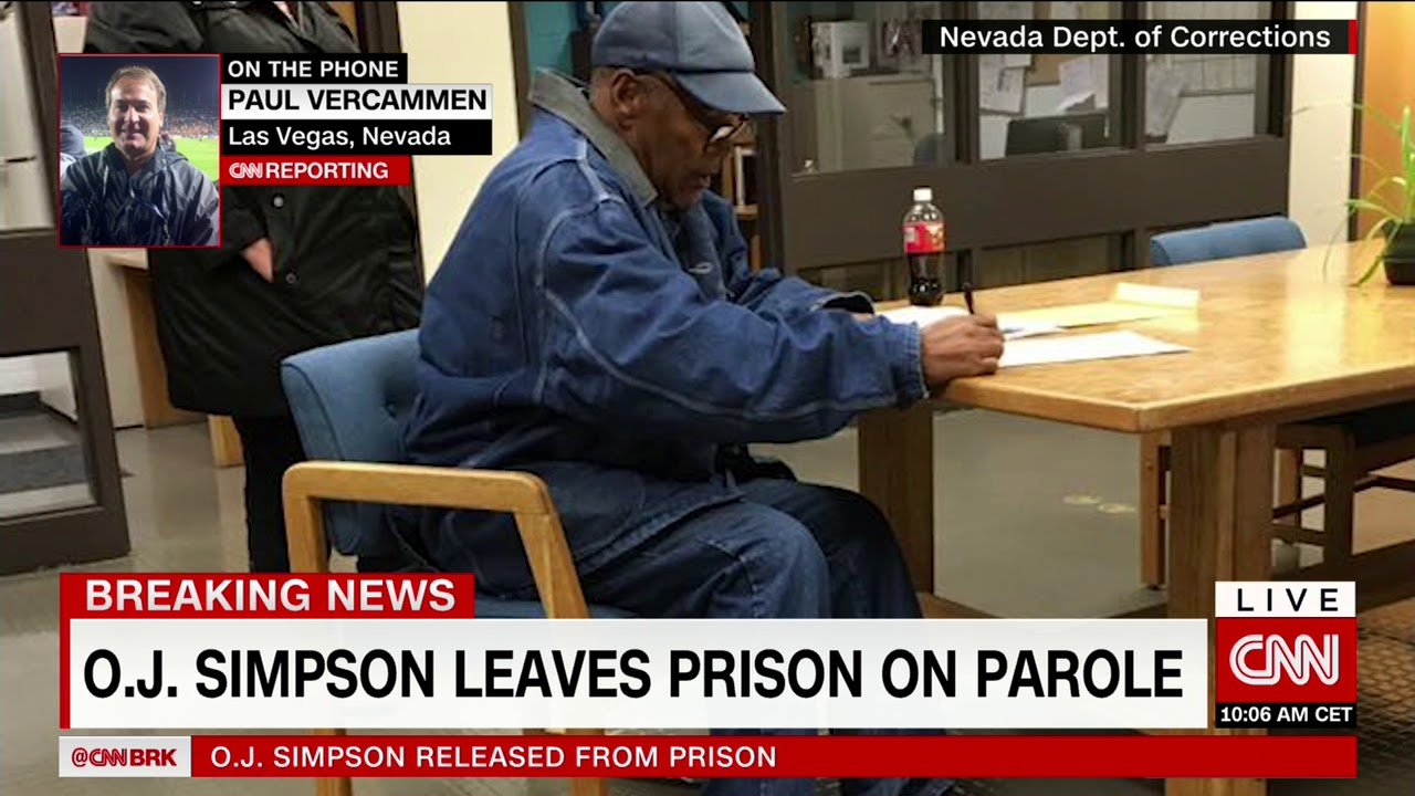 O.J. Simpson walks out of prison after release