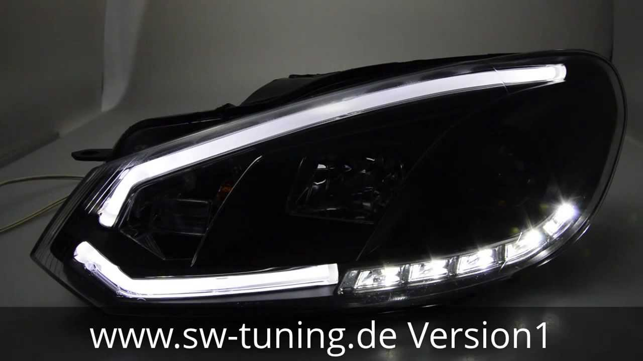 sw drltube scheinwerfer vw golf 6 led lightbar tfl black sw tuning youtube. Black Bedroom Furniture Sets. Home Design Ideas