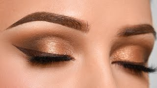BRONZE Smokey Eye & BROWN eyeliner Makeup Tutorial