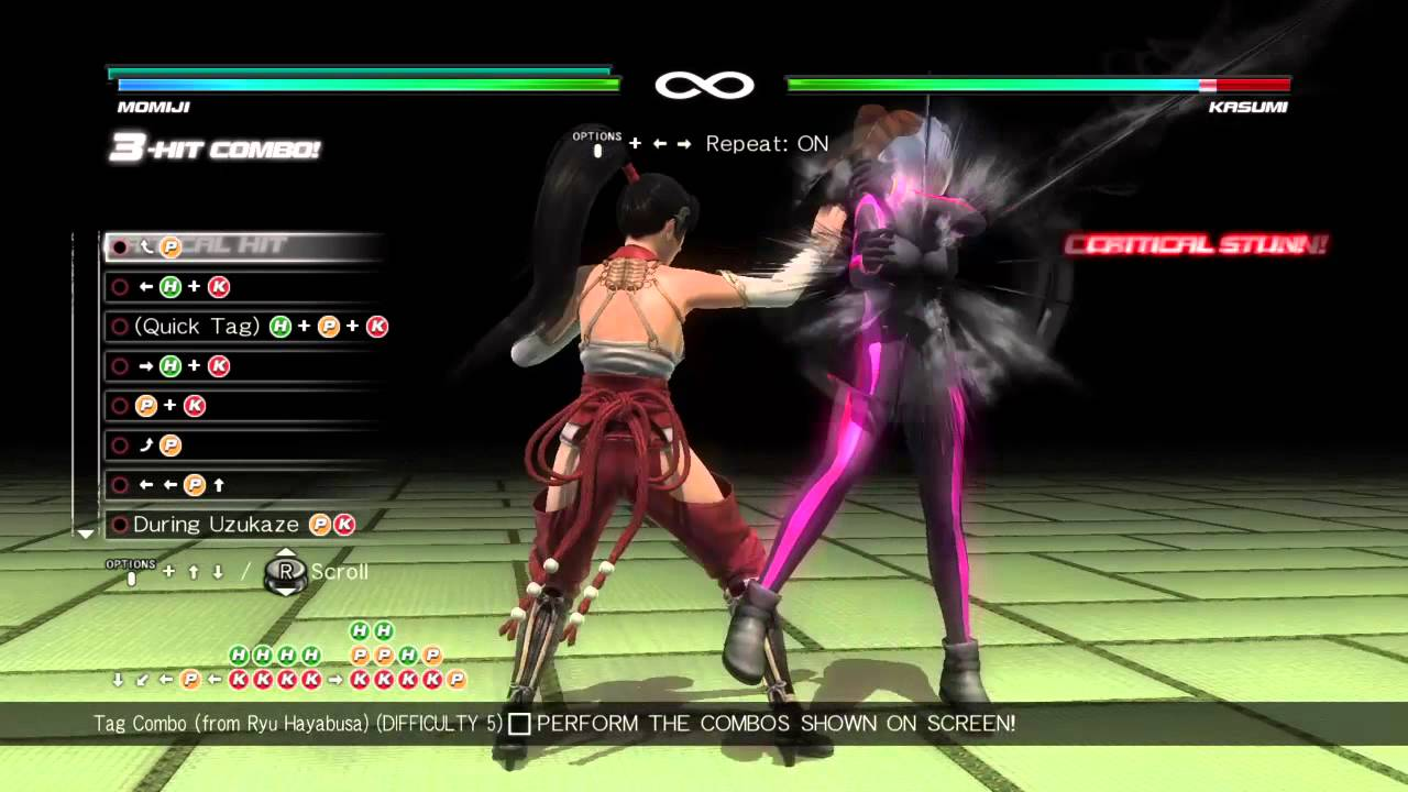 DEAD OR ALIVE 5 Last Round Ryu Hayabusa Final Combo Chal ...