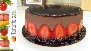 Торт без выпечки КЛУБНИКА В ШОКОЛАДЕ