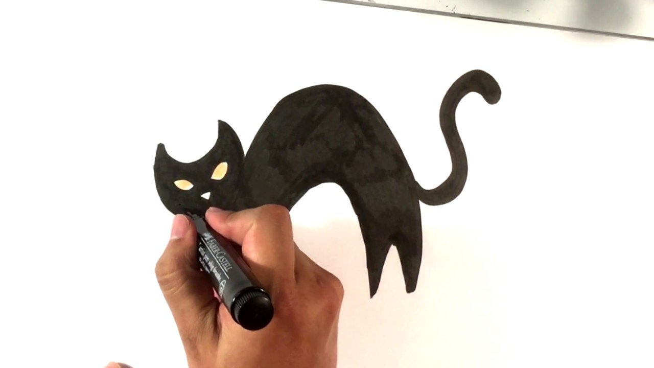 How to Draw a Cat , Easy , Halloween Drawings