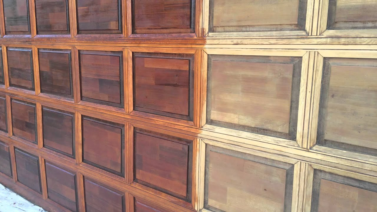 Garage door restoration and refinishing youtube for How to paint faux wood garage doors