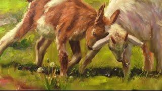 Козлята. Живопись маслом. Oil painting. How to draw a goat. Как рисовать животных.