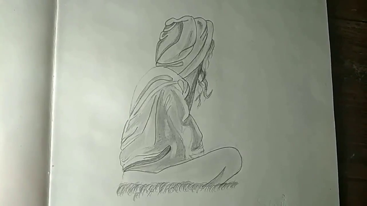 Drawing of a alone sitting girl with hoodie