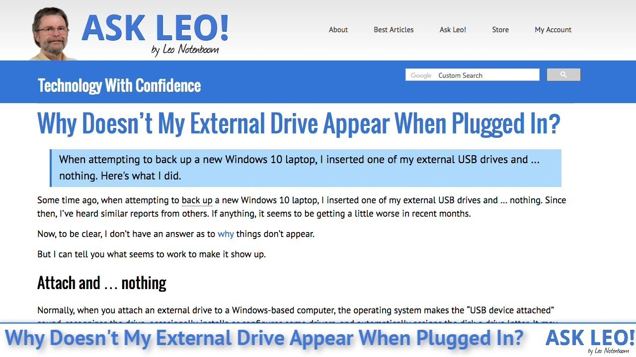 Why Doesn't My External Drive Appear When Plugged In? - Ask Leo!