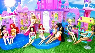 9 Disney Princess Swimming Pool Party Lunch Barbie Dress up Swimsuits Costumes Water Park