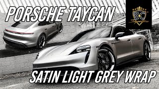 NIEUWE PORSCHE TAYCAN in Satin Light Grey Wrap