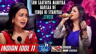 Stutee singing sun sathiya mahiya barsa de ishqa ki syahiya song in indian idol season 11 2019 which divya kumar, priya sings it abcd2. vishal dadlani, ne...