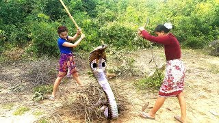 Brave Girl catching King cobra Nearby home - How to catch The king snake in my Village