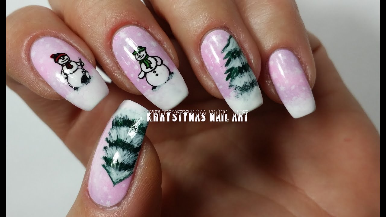 nail art for christmas/new years freehand & stamping - youtube