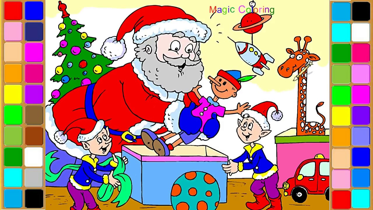 Santa and Elves Christmas Coloring Pages How to Draw and Coloring ...