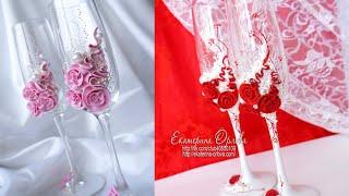 Декор свадебных бокалов. Wedding glasses
