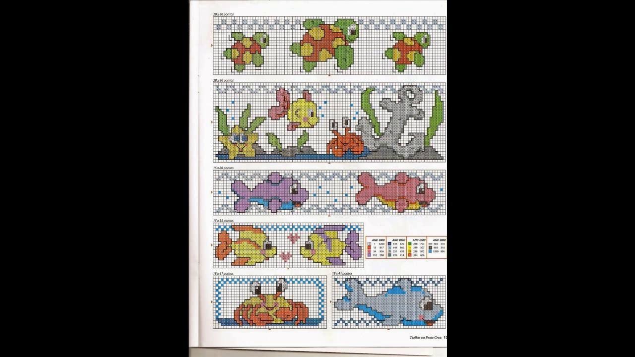 Patrones para punto de cruz motivos marinos y peces I | Aprende a ...