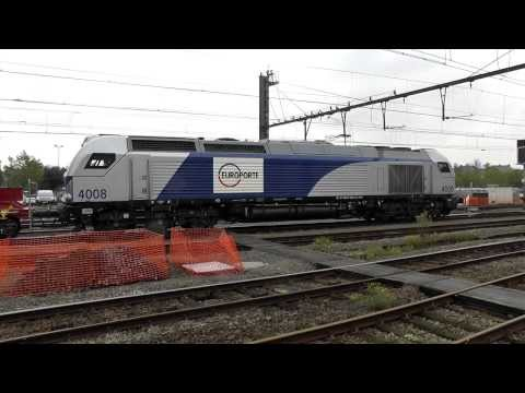 #4008. the sound of V16 EMD of Europorte Vossloh Euro 4000, getting ready,  station Ath, 11 oct 2013